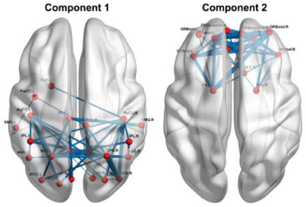 Increased functional connectivity in the patients.