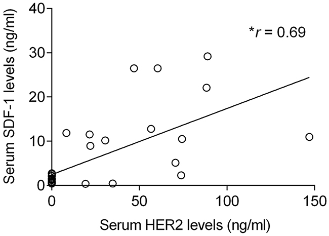 Elevated serum SDF-1 levels are associated with high circulating HER2 levels in cats with mammary carcinoma.