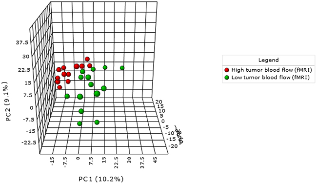 PCA demonstrate a metabolomic-specific signature depending on tumour blood flow in endometrial cancer patients.