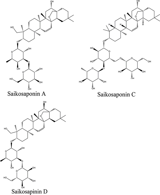Chemical structure of saikosaponins A, C, and D.