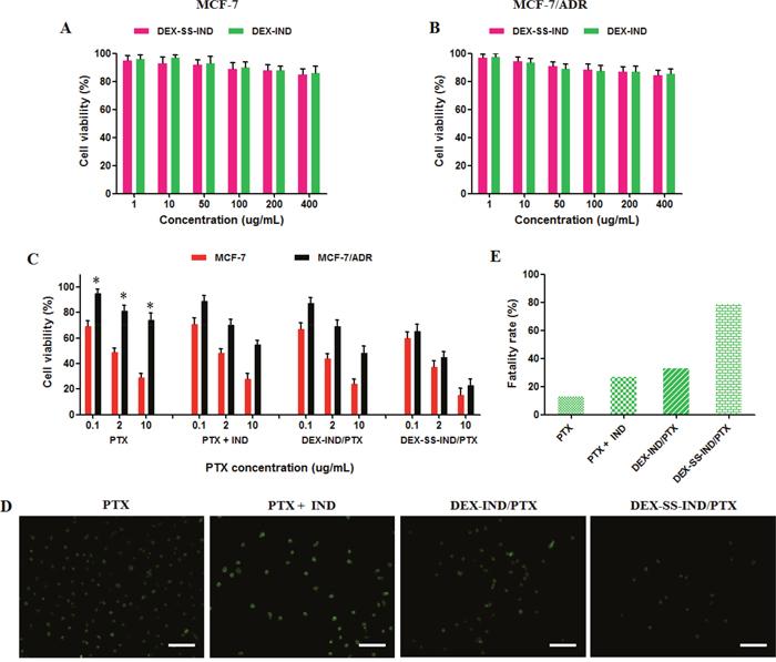 In vitro anti-tumor activity of DEX-SS-IND/PTX micelles.