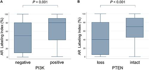The comparison of androgen receptor labeling index (AR LI) with PI3K/PTEN expression.