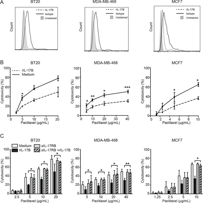 IL-17B promotes resistance to paclitaxel in vitro.