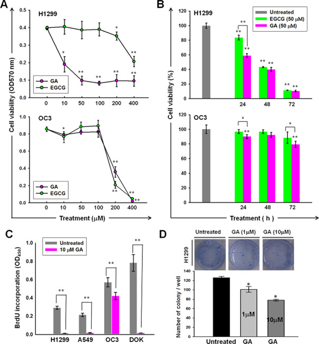 Anti-cancer activities of GA on lung and oral cancer cell lines.