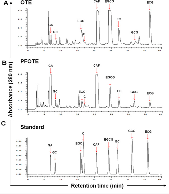 Comparison of polyphenol profile of oolong tea extract (OTE) before and after A. sojae-mediated fermentation.