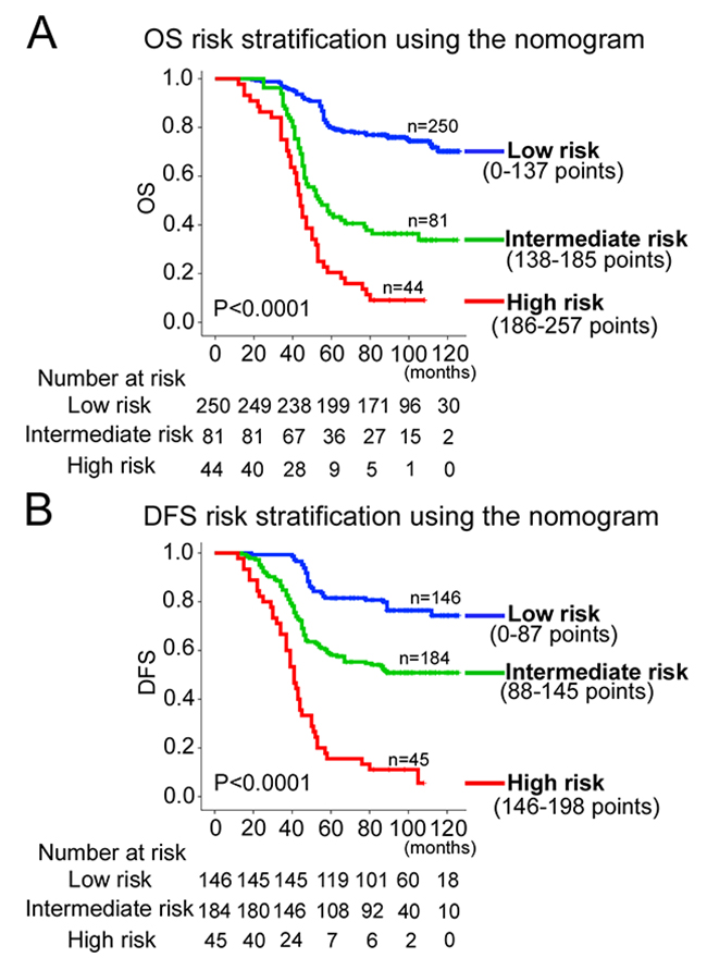 Kaplan-Meier survival analysis of OS and DFS according to three risk groups.