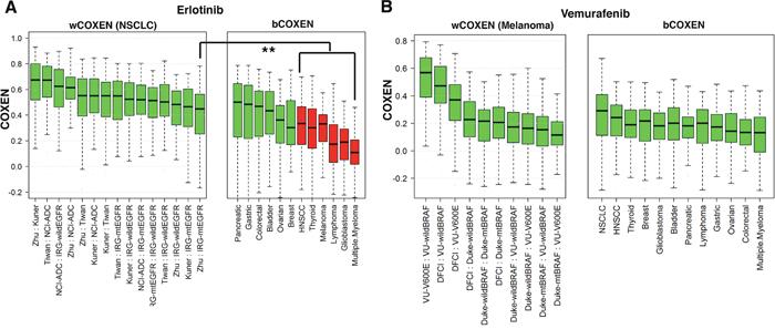 wCOXEN and bCOXEN of erlotinib and vemurafenib biomarkers.