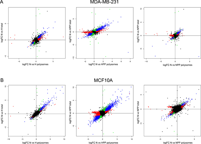 Transcriptional and translational changes in non-tumoural and malignant cells under hypoxic and mTOR inhibition conditions.