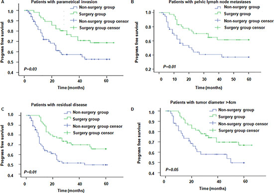 Progress free survival in patients with different risk factors in surgery and non-surgery groups.