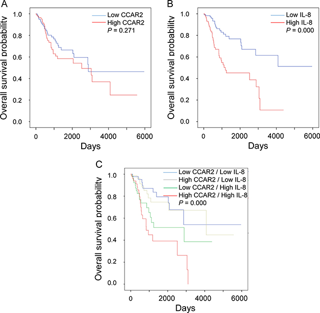 CCAR2-dependent IL-8 expression is associated with low survival of cervical cancer patients.