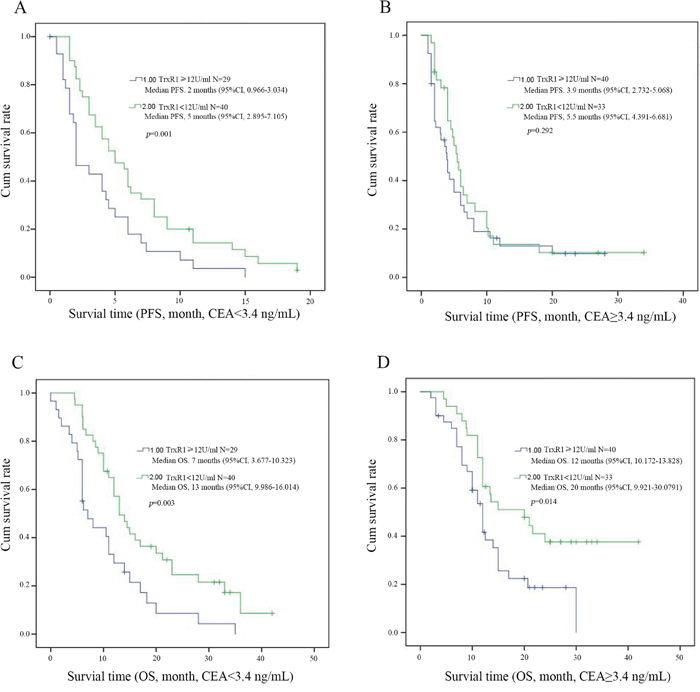 Kaplan-Meier survival curves for PFS and OS in patients with different levels of serum TrxR1 activity through CEA concentration.