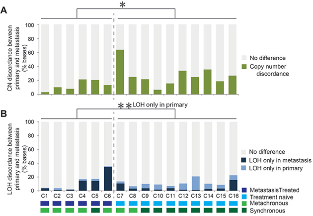 Genomic copy number and loss of heterozygosity (LOH) differences identified between all 16 primary tumor and metastasis pairs.