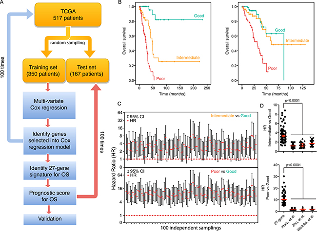 A 27-gene signature is associated with OS in LuADC patients.