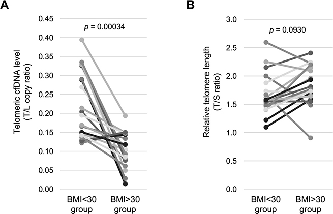 Healthy obese women have a lower telomeric cfDNA level than healthy non-obese women.