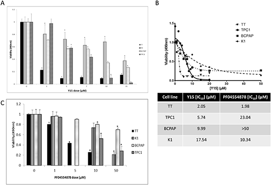 Y15 and PF-04554878 decreased cell viability in a dose-dependent manner in thyroid cancer cell lines.