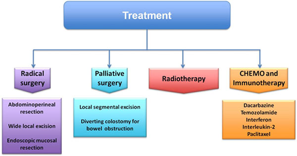 Treatment strategy of anorectal melanoma.