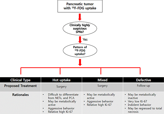 Proposing surgical strategy for SPTs of the pancreas based on the pattern of 18F-FDG uptake.