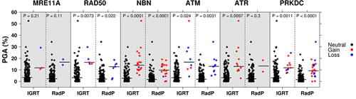 PGA as a function of DDR genes copy number status for IGRT and RadP cohorts.