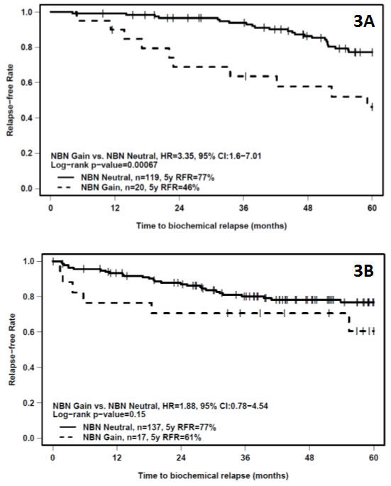 Kaplan-Meier plots of bRFR versus time to recurrence showing the effect of differential