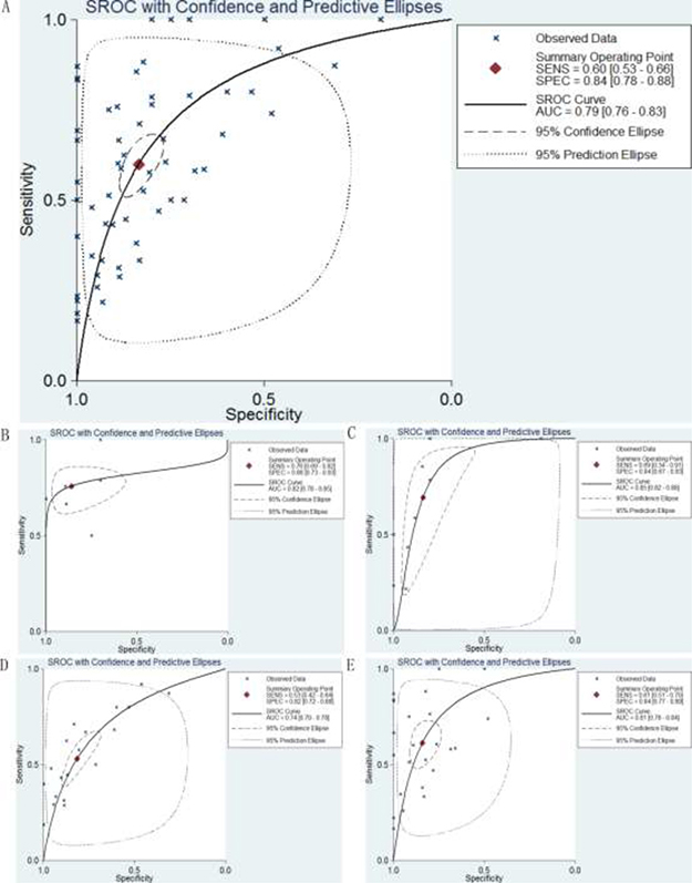 SROC curves for the identification of DTCs patients from normal controls using p27 gene expression.