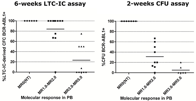 Percentage of BCR-ABL1+ single or pooled colonies in patients at diagnosis and under TKI treatment, according to their molecular response in PB.