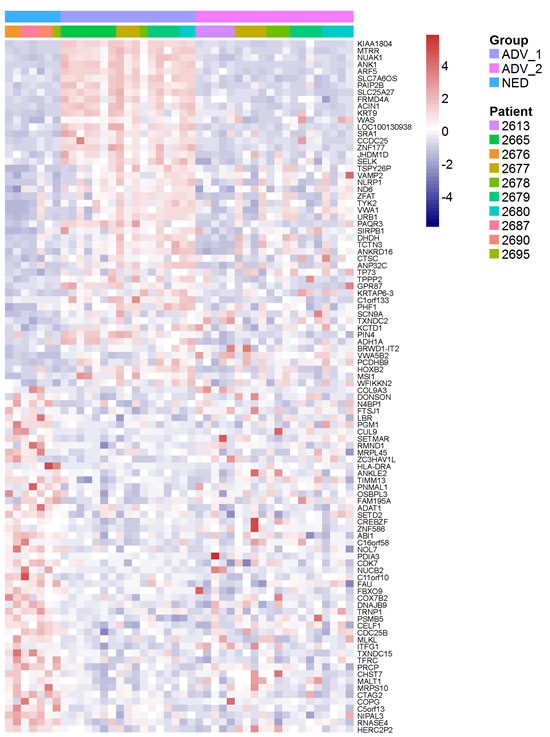 Heat map demonstrates individual prostate cancer DTC from patients with no evidence of disease [NED] are similar to a subset of prostate cancer DTC from advanced patients [ADV].
