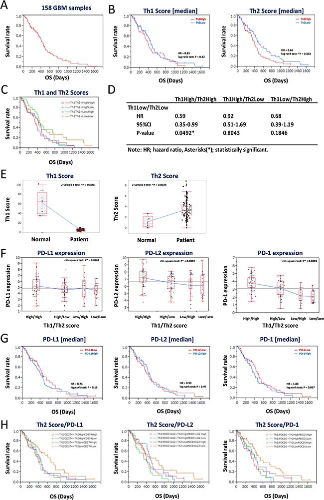 Low balance of Th2 score with lower expression of PD-L1/PD-1 axis genes estimates a good prognosis of 158 GBM patients in the training data set.