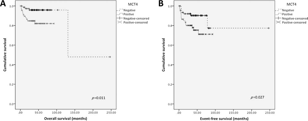 Overall and event-free survival curves of TGCTs' patients.