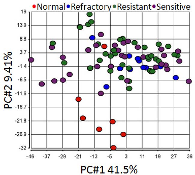 Principal component analysis shows all primary tumor samples clustered together regardless of their chemo-sensitivity.