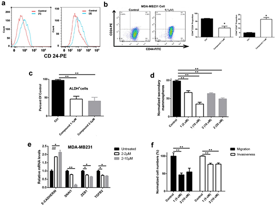 DOT1L inhibition induced cell differentiation, inhibited stem-like cells and cell migration/invasion, and corrected dysregulated gene expression of MDA-MB231 cells.