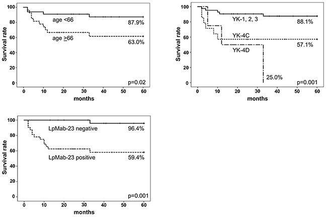 Five-year metastasis-free survival curves (MFS).