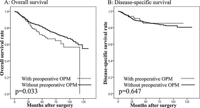 Survival curves in patients undergoing gastrectomy with curative intent according to the presence of other primary malignancies (OPMs) preoperatively.