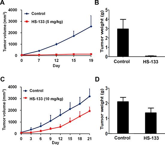 Antitumor activity of HS-133 against SkBr3 xenograft.