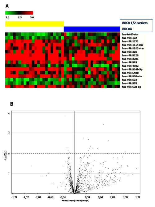 (A) Heatmap showing miRNAs significantly (p<0.001) deregulated in BRCA1/2-related breast (left) tumors and BRCAX (right).