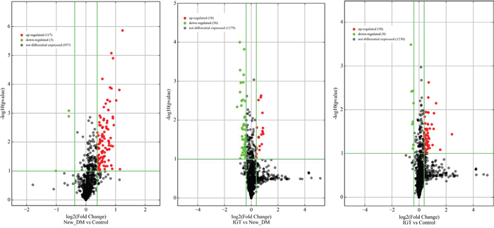 Volcano plots of precursor miRNA in individuals with screen-detected diabetes (DM), impaired glucose tolerance (IGT) compared to those with normal glucose tolerance (NGT).