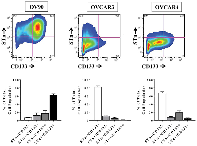 STn and CD133 are co-expressed in human ovarian cancer cell lines.