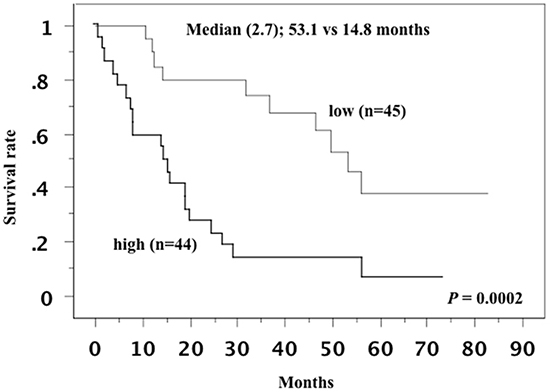 Overall survival curve in all patients.