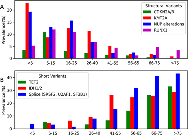 Prevalence of the selected common structural and short variants according to age subsets.