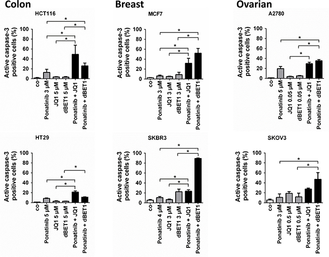 Effects of combination of ponatinib and JQ1 or ponatinib and dBET1 on late apoptosis of colon, breast and ovarian cancer cells.