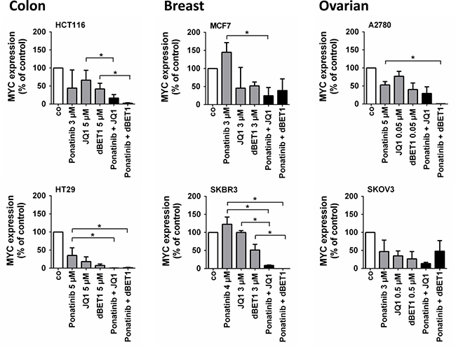 Effects of combination of ponatinib and JQ1 or ponatinib and dBET1 on MYC expression in colon, breast and ovarian cancer cells.
