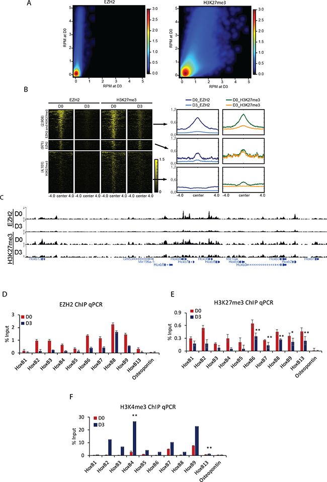 Displacement of H3K27me3 and PRC2 during cellular differentiation induced by RA.