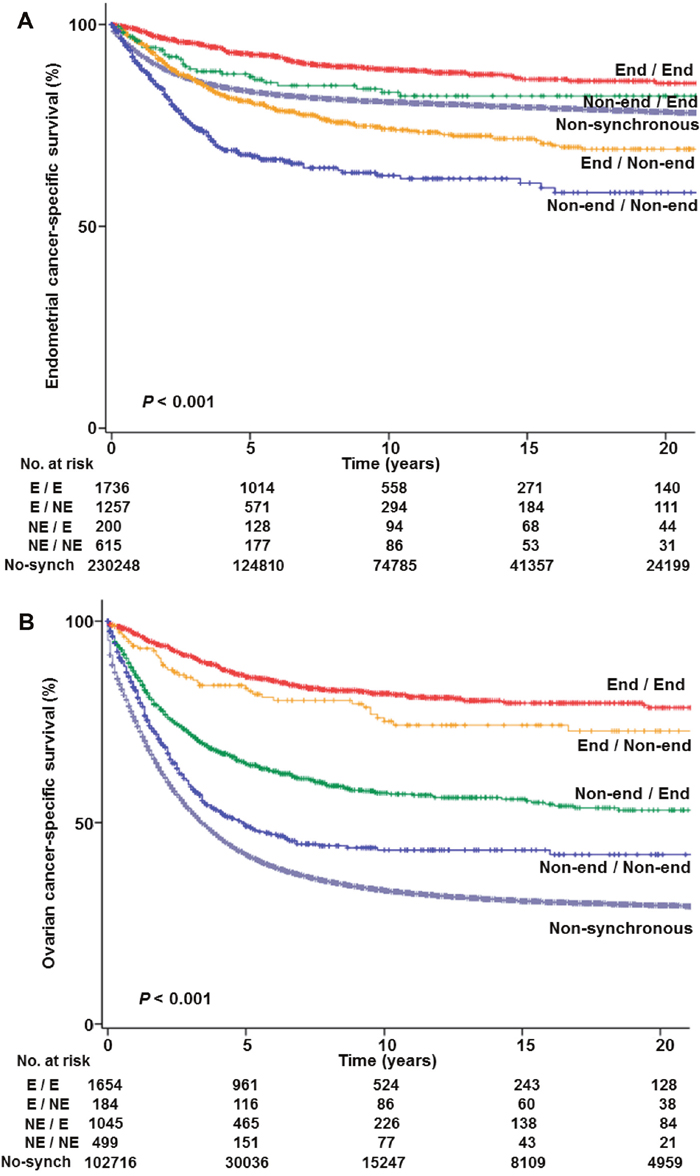 Cause-specific survival curves based on histologic patterns.