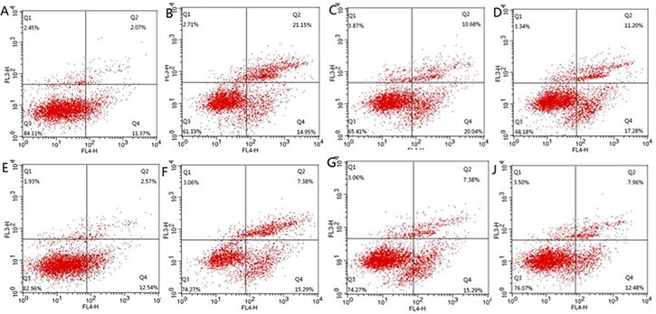 The change of apoptosis of lymphocyte detected flow cytometry.