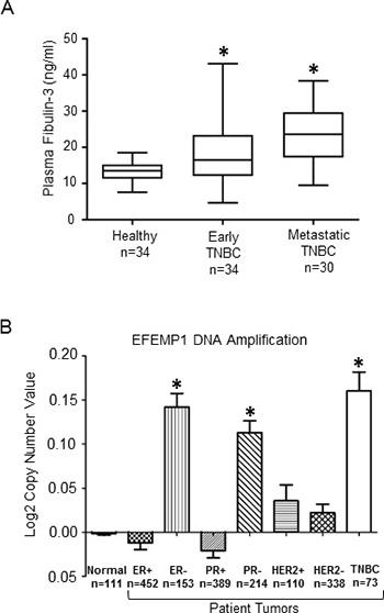 Fibulin-3 expression levels in TNBC patients.