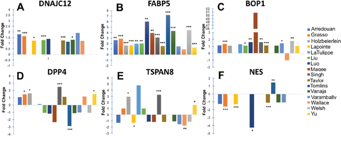 Expression of selected top-ranked genes in clinical PCa tissues.