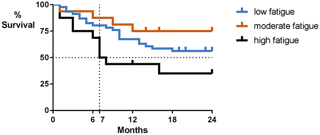Overall survival by baseline patient-reported fatigue severity.