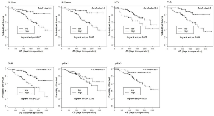 Kaplan-Meier estimates of survival functions for OS in the low and high groups for the SUV mean, SUVmax, MTV, TLG, Glut1, pStat1, and pStat3 in 140 NSCLC patients.