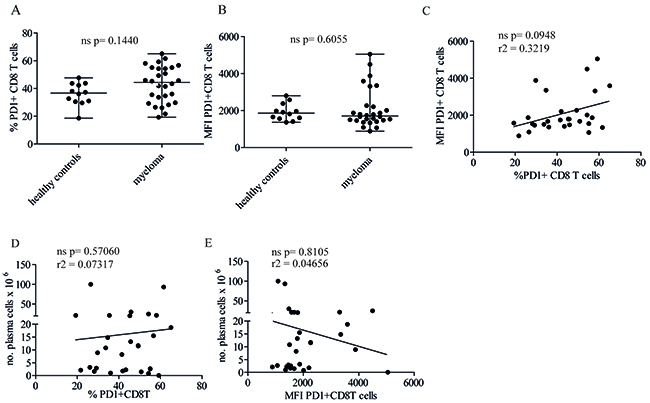 Neither proportion of PD1+ CD8+ T cells in the bone marrow nor levels of PD1 expression correlate with tumor load.