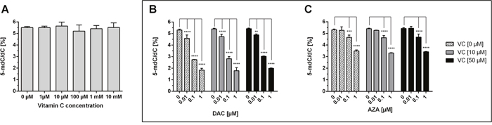 Impact of DAC, AZA and vitamin C on genomic 5-mdC/dC levels in human colon cancer cells.