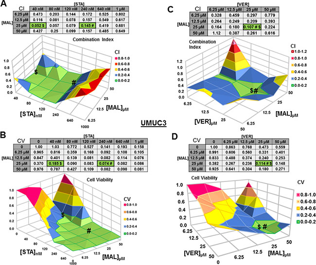 Combinations of HSP70 and HSP90 inhibitors synergistically reduce UMUC3 cell viability.